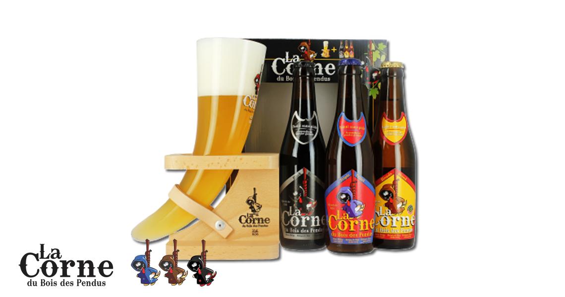 牛角啤酒經典牛角杯禮盒組3酒1杯-La Corne gift box