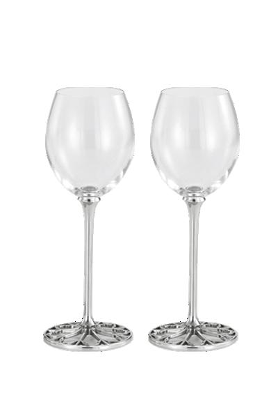 編籐「窗飾」白酒高腳對杯--皇家雪蘭莪-Tracery White Wine Glass Pair Royal Selangor